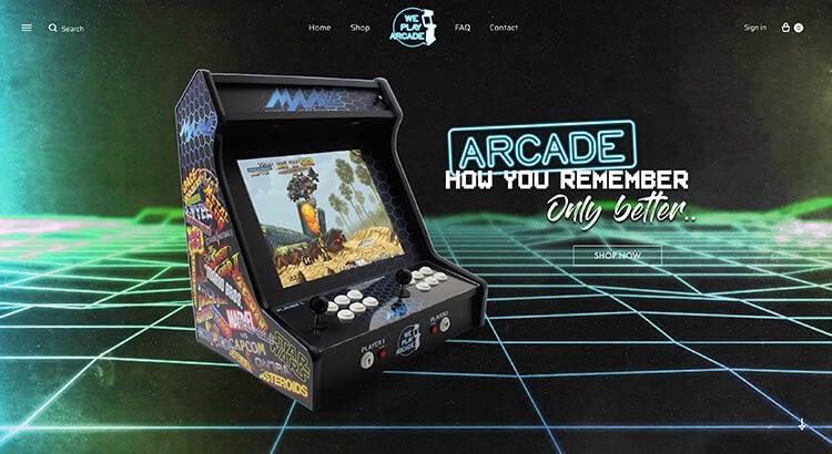 We Play Arcade website voorbeeld