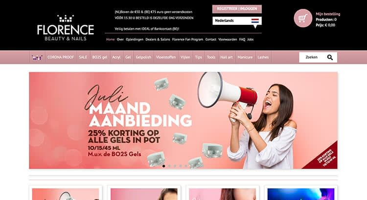 Florence beauty and nails website voorbeeld